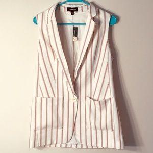🍒 NWT Express Pin Stripe Cherry Vest Size S